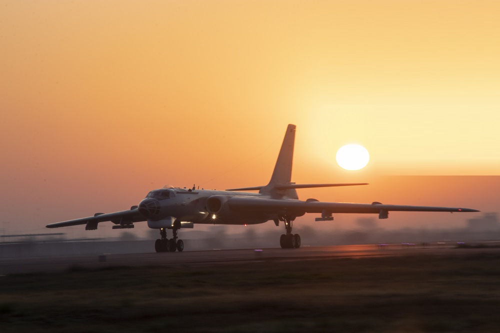 An H-6 bomber attached to an aviation regiment of the navy under the PLA Eastern Theater Command taxies down the flightline after landing during a flight training task in mid-March, 2020.