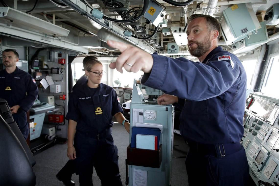 Pictured left to right- Navigator 'Navs' Lt Webber and Commandering Officer, Commander Will Blackett
