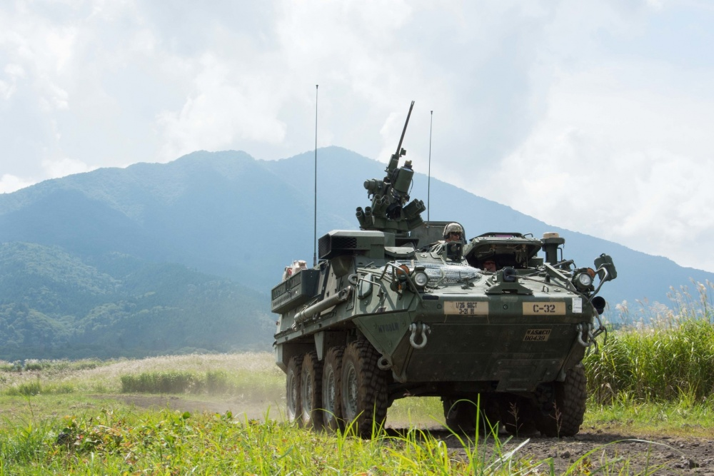 A U.S. Army M1126 Stryker patrols during a live fire training event as part of exercise Orient Shield at Camp Fuji,Japan.