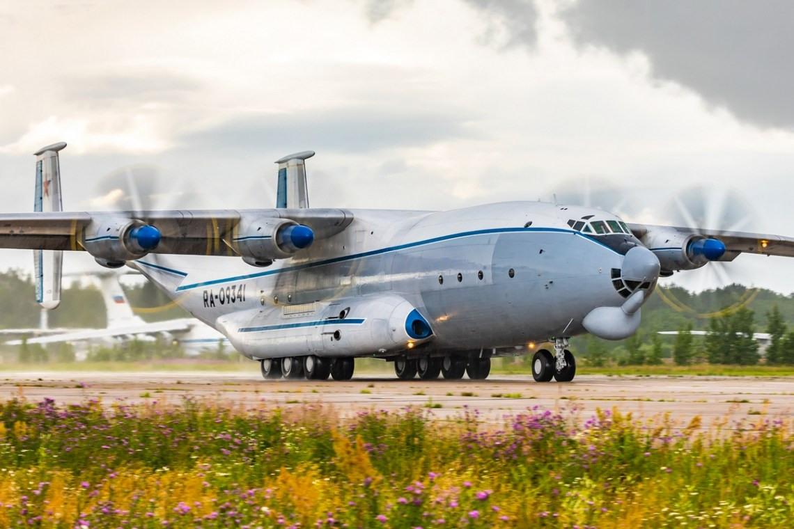 Russian Air Force Flies An-22 Antey Heavy Military Turboprop Aircraft