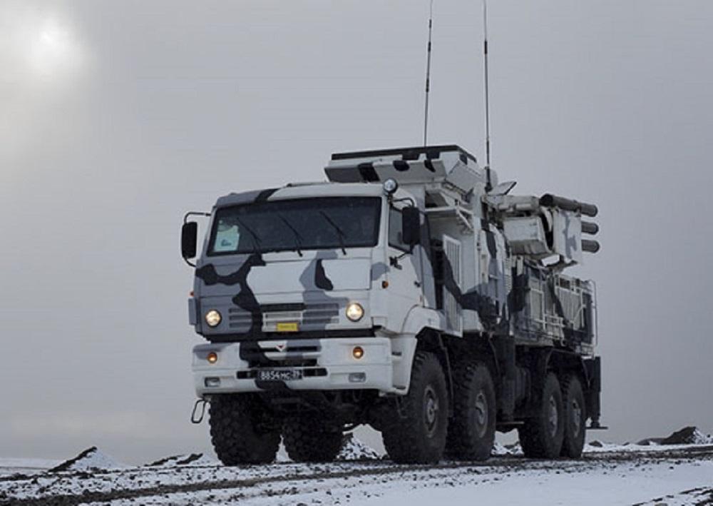 Russian Pantsir S1 Anti-Air-Vehicles Train in Arctic