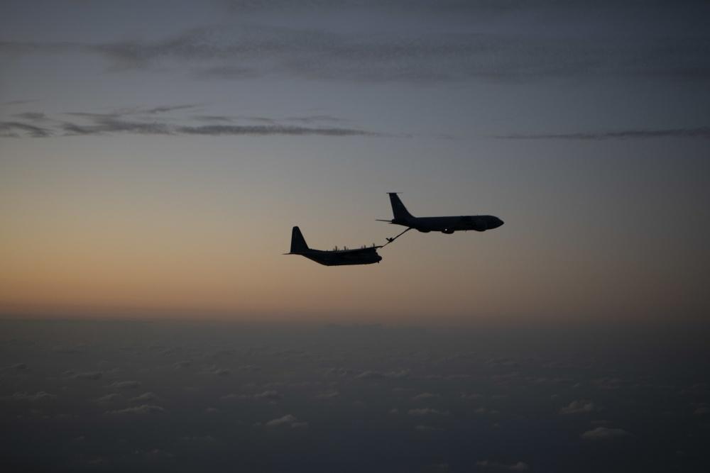 A U.S. Air Force KC-135 Stratotanker refuels a MC-130J Commando II Nov. 4th, 2019, over the Pacific Ocean.