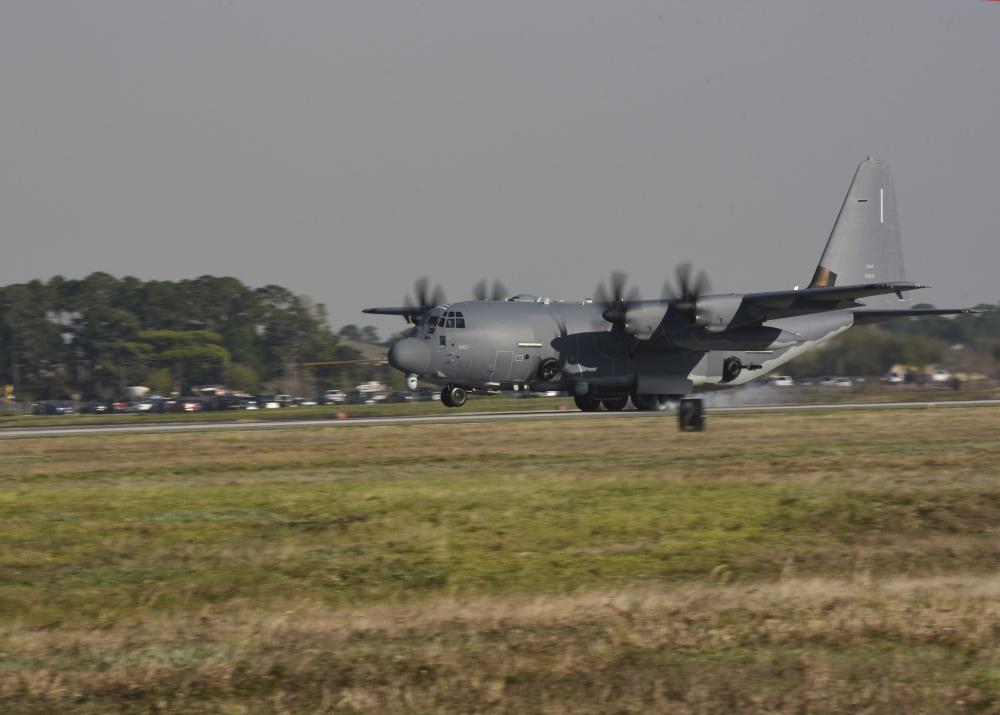 U.S. Air Force Special Operations Command's first Block 30 AC-130J Ghostrider gunship arrives at Hurlburt Field, Florida.
