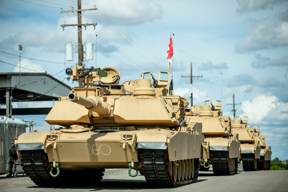Troopers assigned to Bravo Company, 3rd Battalion, 8th Cavalry Regiment, 3rd Armored Brigade Combat Team (3ABCT), 1st Cavalry Division, stage the first set of new M1A2C (SEP v.3) Abrams Tanks at Fort Hood, Texas, July 21, 2020.