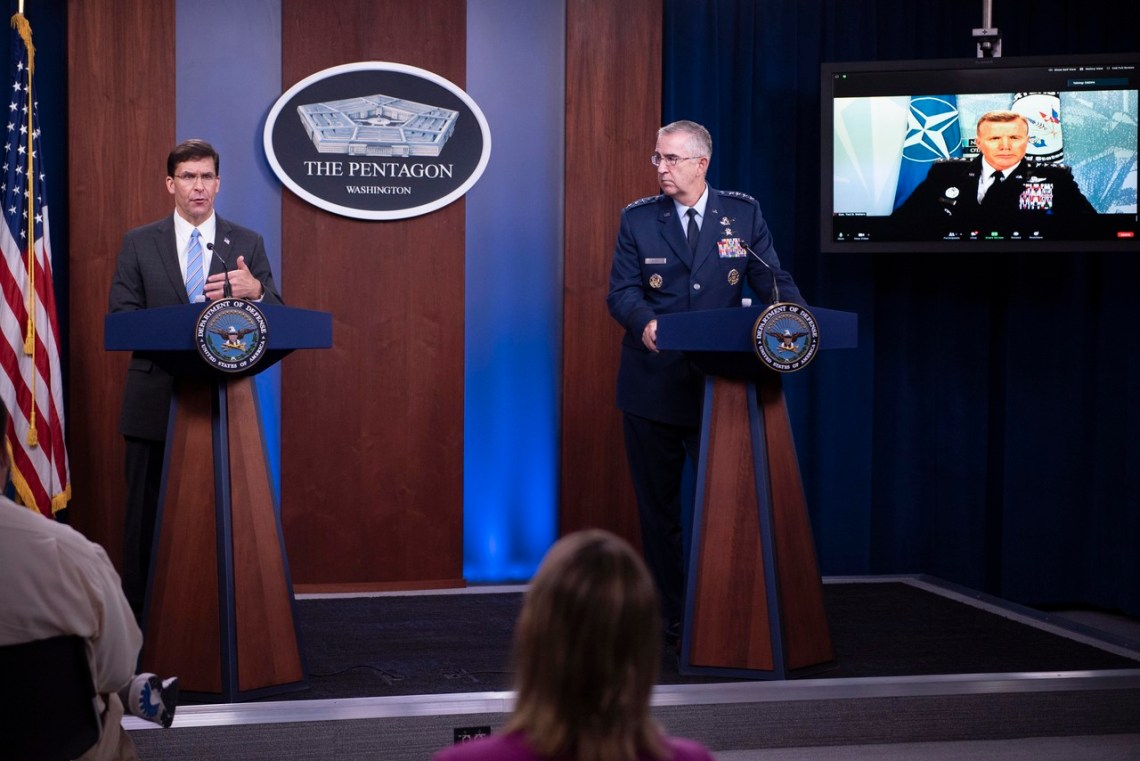 efense Secretary Dr. Mark T. Esper; Air Force Gen. John E. Hyten, vice chairman of the Joint Chiefs of Staff; and Air Force Gen. Tod D. Wolters, commander of U.S. European Command, brief the media on the European Strategic Force Posture Review at the Pentagon, July 29, 2020.