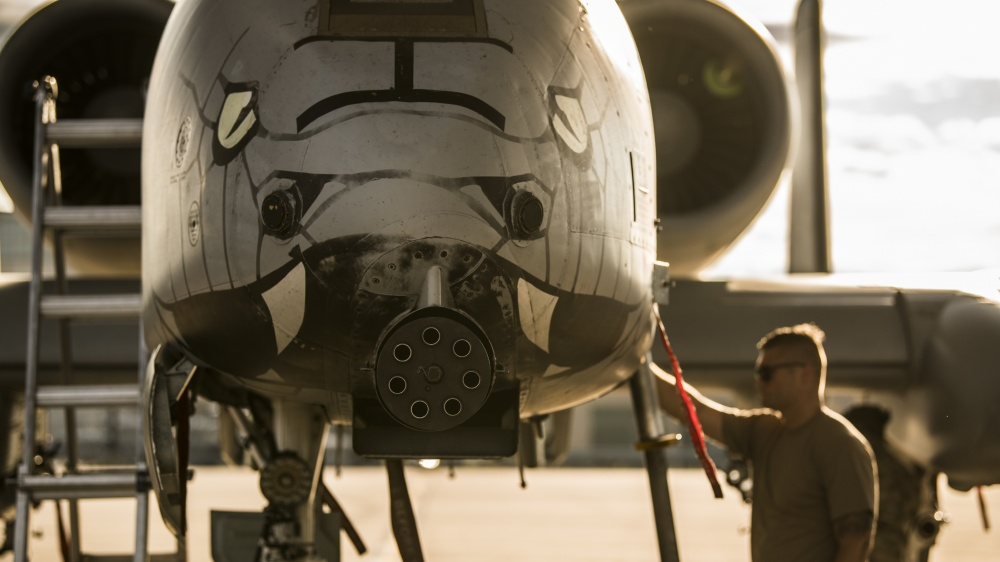 U.S. Air Force Staff Sgt. Austin Radke, an aircraft maintenance crew chief assigned to the 122nd Fighter Wing, Indiana Air National Guard, performs a preflight inspection on an A-10C Thunderbolt II aircraft June 24, 2020, at the 122nd Fighter Wing in Fort Wayne, Indiana.
