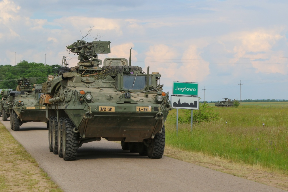 U.S. Army Soldiers assigned to 3rd Squadron, 2nd Cavalry Regiment drive Stryker infantry carrier vehicles during Bull Run 12 near Jaglowo, Poland.