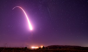 An unarmed Minuteman III intercontinental ballistic missile launches during a test from Vandenberg Air Force Base