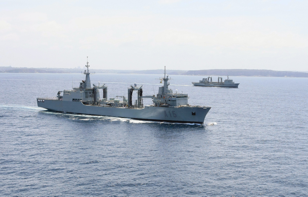 SPS Cantabria of the Spanish Armada in company with HMAS Success of the Royal Australian Navy off the coast of Sydney.