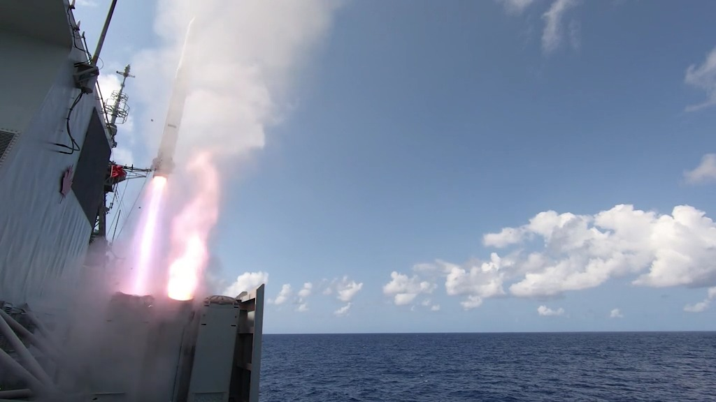 Royal Canadian Navy HMCS Winnipeg Conducts Live Missile Firings