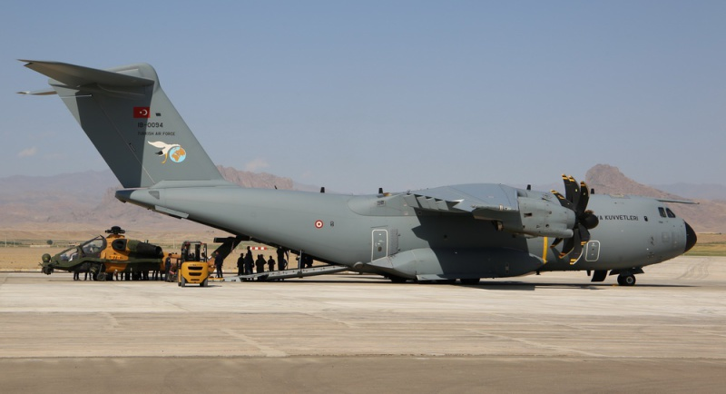 Turkish A400M Ferries T-129 Attack Helicopters to Azerbaijan for Exercise