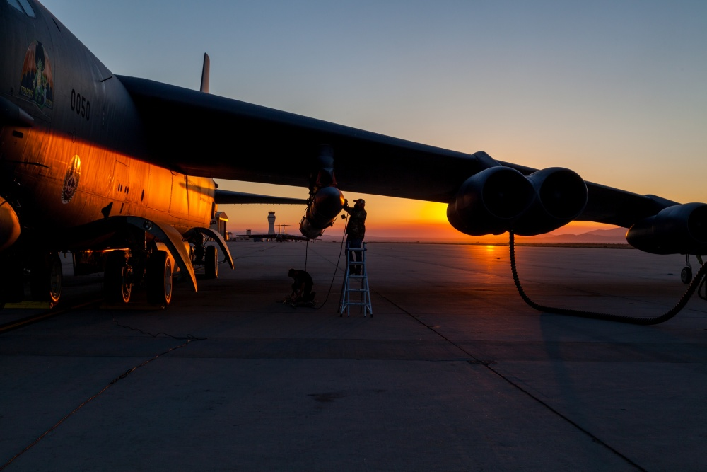 Members of the AGM-183A Air-launched Rapid Response Weapon Instrumented Measurement Vehicle 2 test team make final preparations prior to a captive-carry test flight of the prototype hypersonic weapon at Edwards Air Force Base, California, Aug. 8.