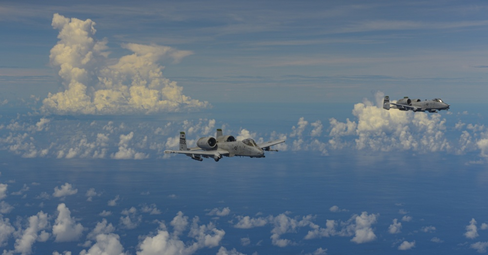 U.S. Air Force A-10 Thunderbolt II's assigned to the 25th Fighter Squadron, Osan Air Base, South Korea, conduct a routine training mission in the Indo-Pacific, Aug. 19, 2020