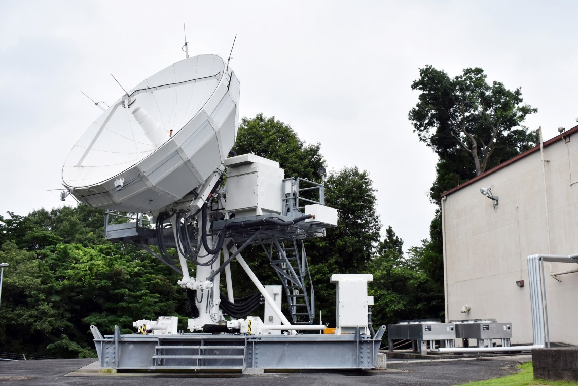 The 374th Communications Squadron's Operating Location C's AN/GSC-52B satellite communications terminal stands outside building 771 at Camp Zama, Japan, July 24, 2020.