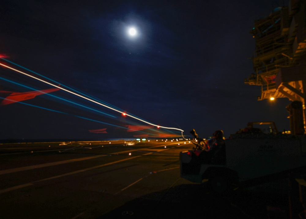 US Navy Gerald R. Ford Aircraft Carrier Conducts First Air Intercept Control Event