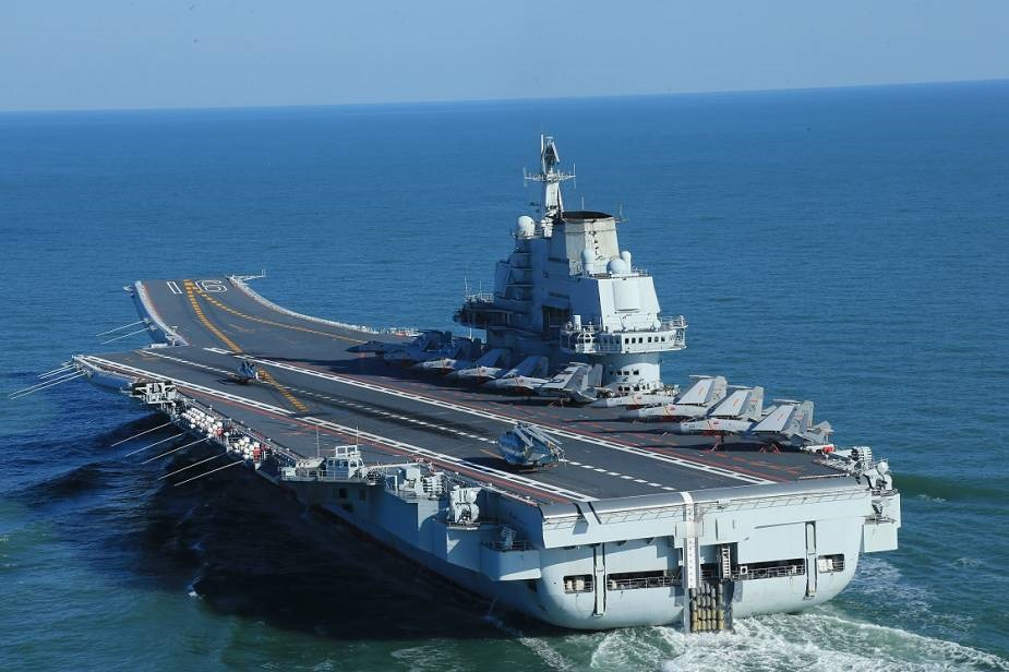 Chinese People's Liberation Army Navy Liaoning Type 001 aircraft carrier.