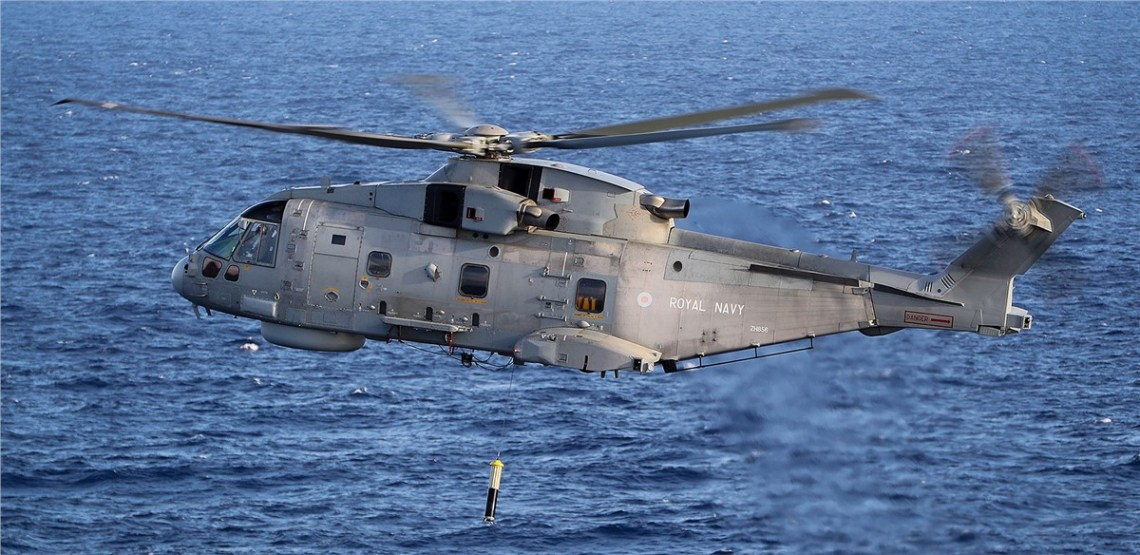 Royal Navy Merlin AW101 with FLASH SONICS Sonar
