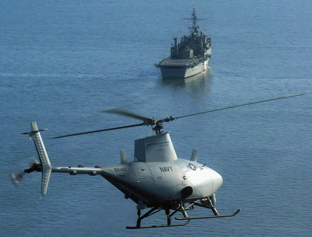 A RQ-8A prepares for the first autonomous landing aboard USS Nashville during sea trials, 2006.