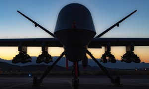 U.S. Air Force MQ-9A Reaper Takes Flight with 8 AGM-114 Hellfire Missiles