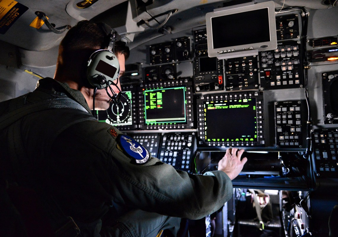 B-1B functional check flight pilot Maj. Michael Griffin, with the 10th Flight Test Squadron, Tinker Air Force Base, Okla., evaluates critical defensive and offensive aircraft systems, such as upgraded navigation procedures, radar systems and aircraft terrain, Dec. 15, 2015.