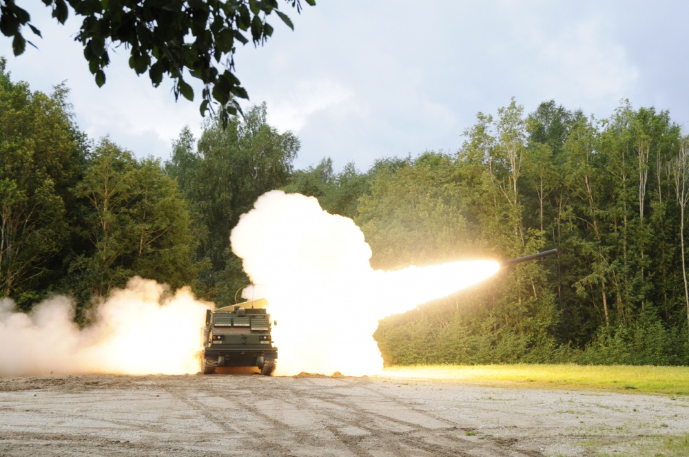 A M270A Multiple Launch Rocket System crew assigned to Bravo Battery, 1st Battalion, 6th Field Artillery Regiment fires Reduced Range Practice Rounds over the Estonian training area in Tapa on Sept. 5, 2020.