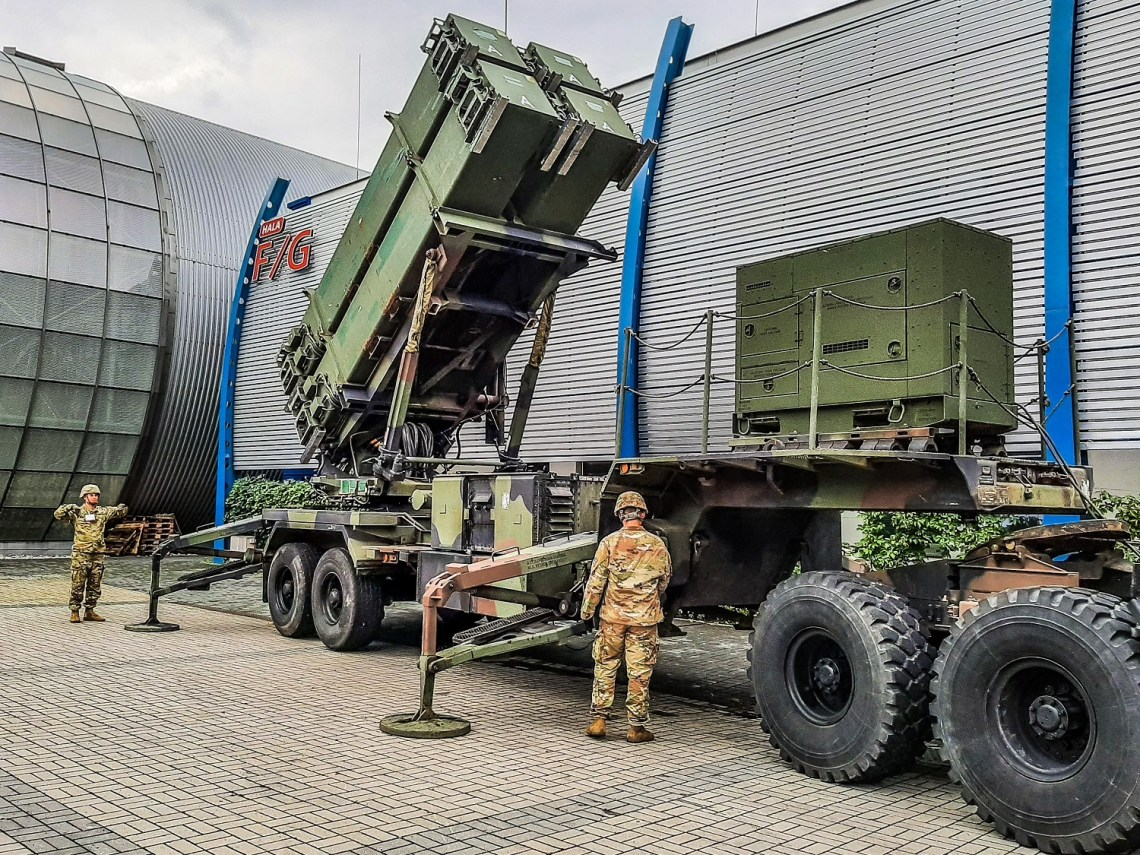 Soldiers from Alpha Battery, 5th Battalion, 7th Air Defense Artillery Regiment conducting an emplacement of the Patriot Launching System at the 28th International Defense Industry Exhibition MSPO 2020 on Sept 7, 2020 in Targi Kielce, Poland.