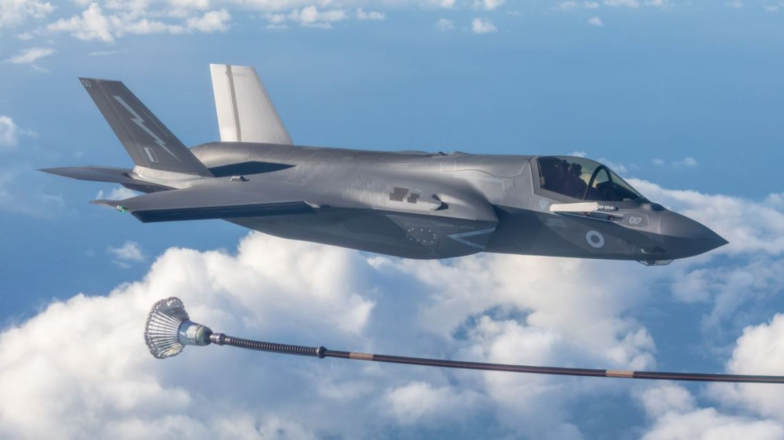 F-35B from 617 Squadron based out of Royal Air Force Marham, taking part in air-air refuelling as part of Ex CRIMSON WARRIOR on 4 November 2020.