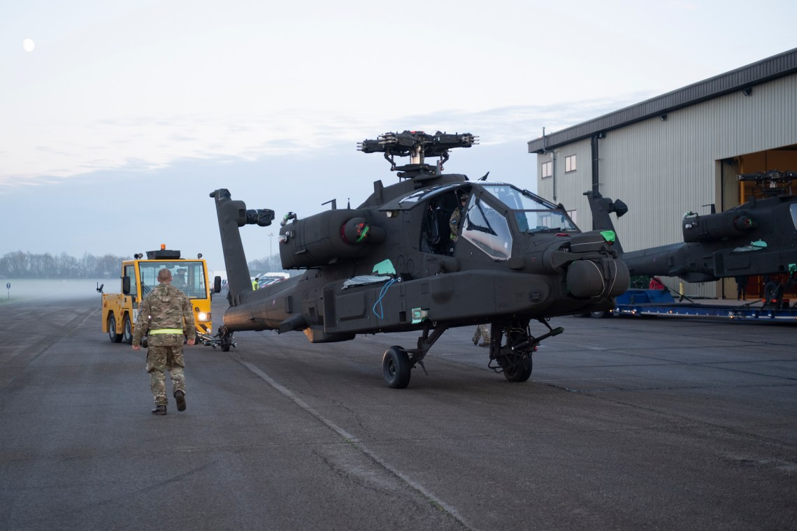 A fleet of AH-64E Version 6 aircraft, the most advanced variant of Apache, have been procured from the United States to replace the Apache AH Mark 1, which reaches its Out of Service Date in 2024. (Photographer Cpl Adam Wakefield/ MoD Crown )