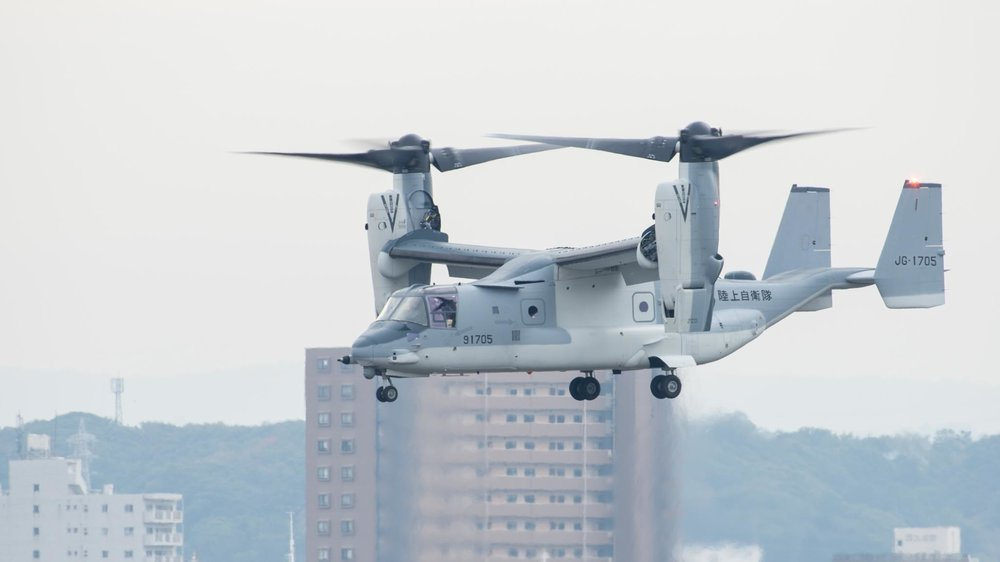 A Japanese Self-Defense Forces V-22 begins flight operations at Kisarazu Air Field Nov. 6. Photo courtesy of Japan Ground Self Defense Force.