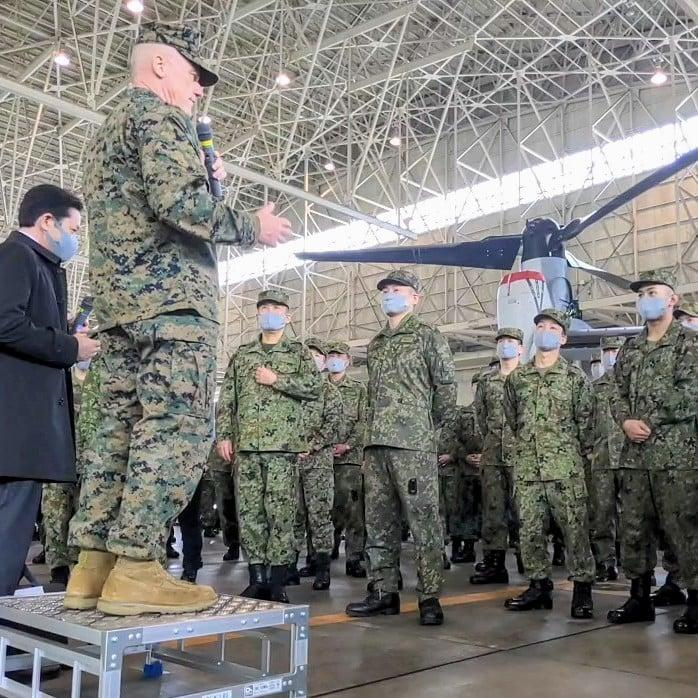 III Marine Expeditionary Force Commanding General, Lt. Gen. H. Stacy Clardy addresses attendees at the Japanese Ground Self Defense Force's Transportation Aviation Group (TAG) Ceremony for Japan's V-22 Program Activation, Nov. 3, 2020.