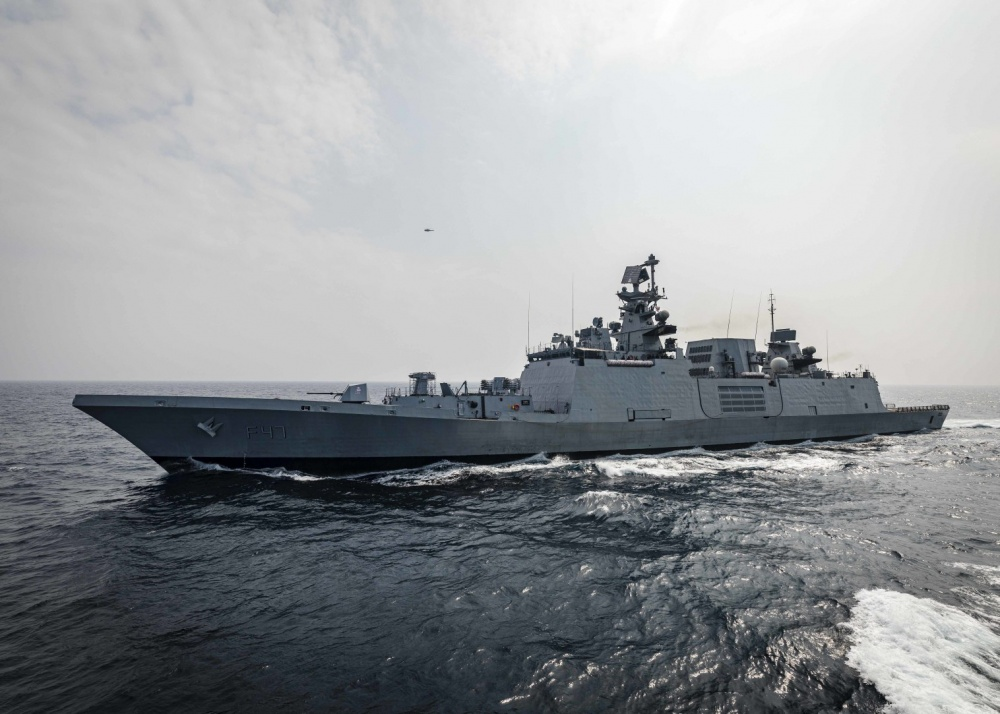 The Indian Navy Shivalik-class stealth multi-role frigate INS Shivalik (F 47) sails alongside the Arleigh Burke-class guided-missile destroyer USS John S. McCain (DDG 56) while conducting replenishment-at-sea approaches (RASAPs) as part of Malabar 2020