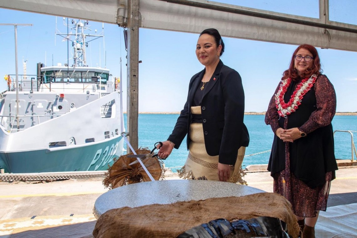 Her Royal Highness Princess Angelika Latufuipeka Tukuʻaho of the Kingdom of Tonga and Australian Defence Industry Minister The Hon Melissa Price MP at the ribbon cutting for the official delivery ceremony of the VOEA Ngahau Siliva (Image courtesy of RAN)