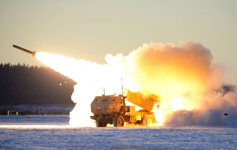 A U.S. Army M142 High Mobility Artillery Rocket Systems (HIMARS) launches ordnance during RED FLAG-Alaska 21-1 at Fort Greely, Alaska, Oct. 22, 2020. This exercise focuses on rapid infiltration and exfiltration to minimize the chance of a counterattack.