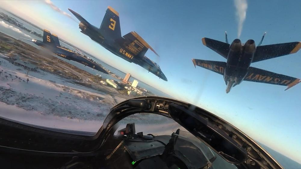 "The U.S. Navy Flight Demonstration Squadron, the Blue Angels, conducted a final flight on the F/A-18 A/B/C/D ""Legacy"" Hornets, Nov. 04 from 4 p.m. to 4:30 p.m. CST."