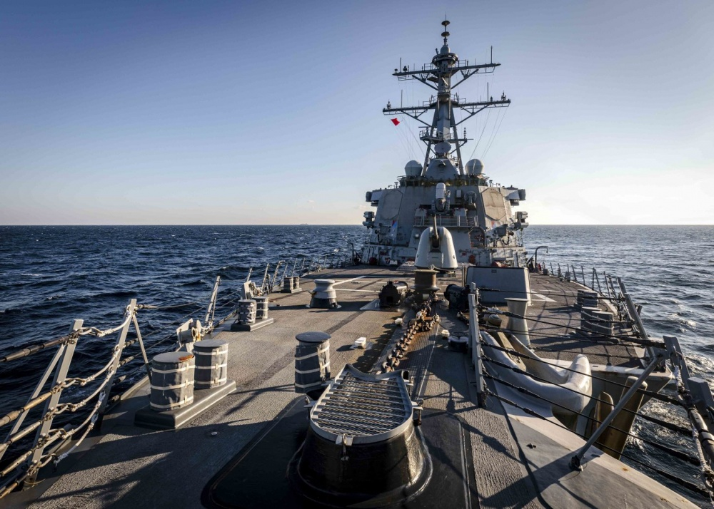The Arleigh Burke-class guided-missile destroyer USS John S. McCain (DDG 56) transits through Peter the Great Bay while conducting routine underway operations.