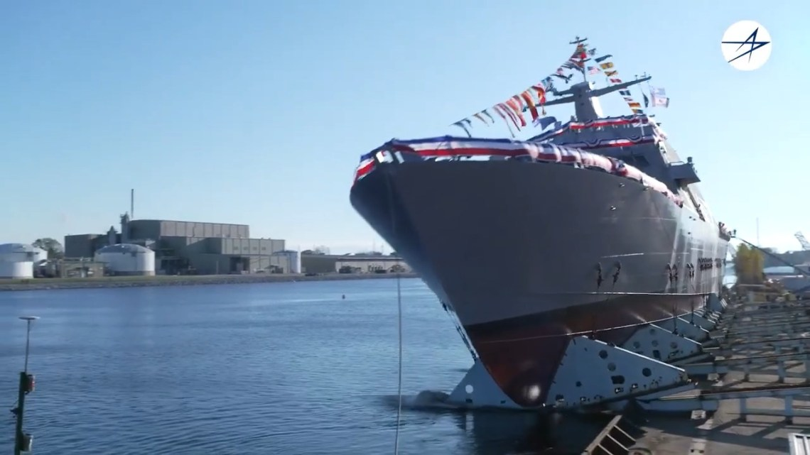 USS Marinette Littoral Combat Ship 25 (LCS-25) Launches