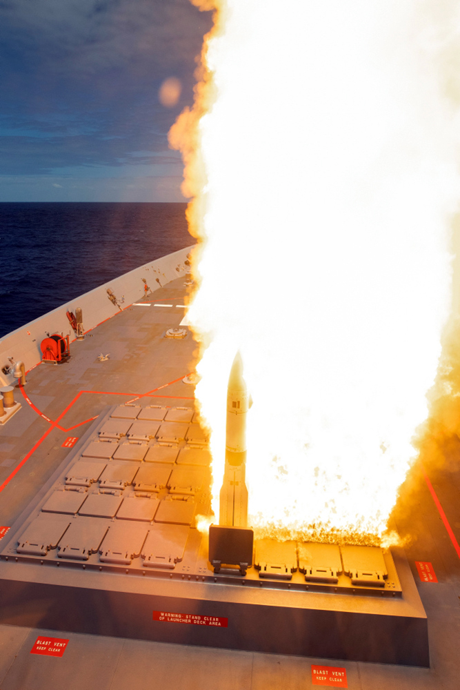 HMAS Brisbane conducts a SM-2 standard missile live firing at sea, off the coast of New South Wales.