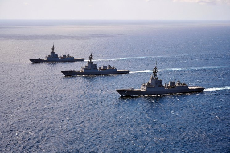 HMA Ships Hobart, Brisbane and Sydney sail in formation through the the Eastern Australian Exercise Area off the coast of New South Wales.