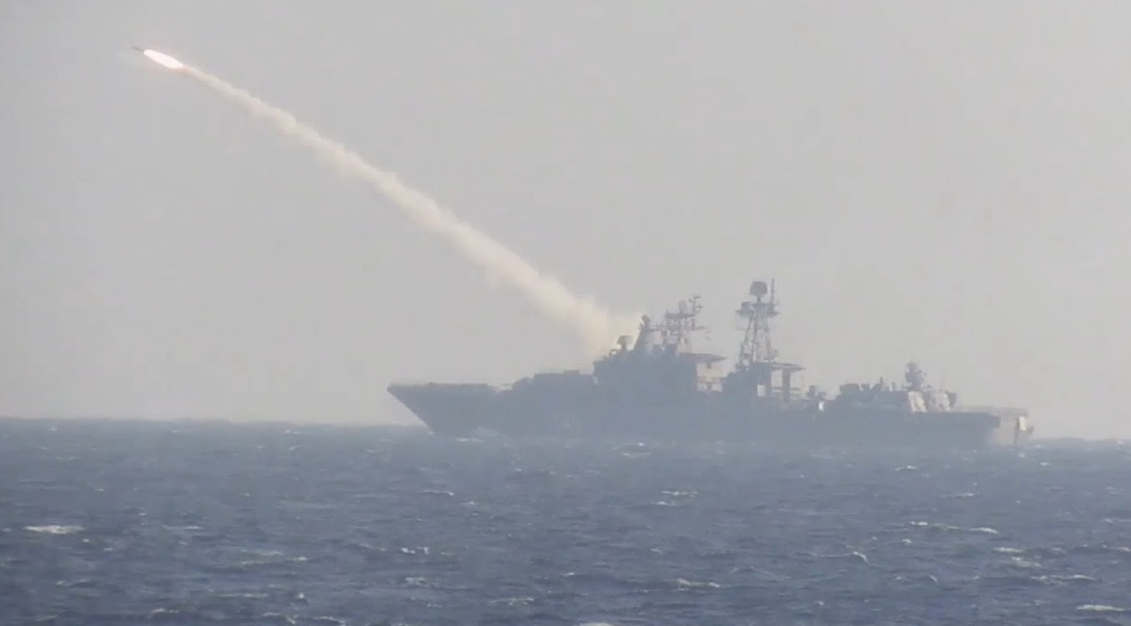 Russian Navy Marshal Shaposhnikov Frigate Conducts Live Fire Test of Uran Anti-ship Missile