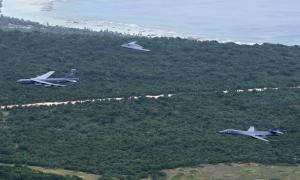 U.S. Air Force B-52 Stratofortress, B-1 Lancer and B-2 Spirit bombers.