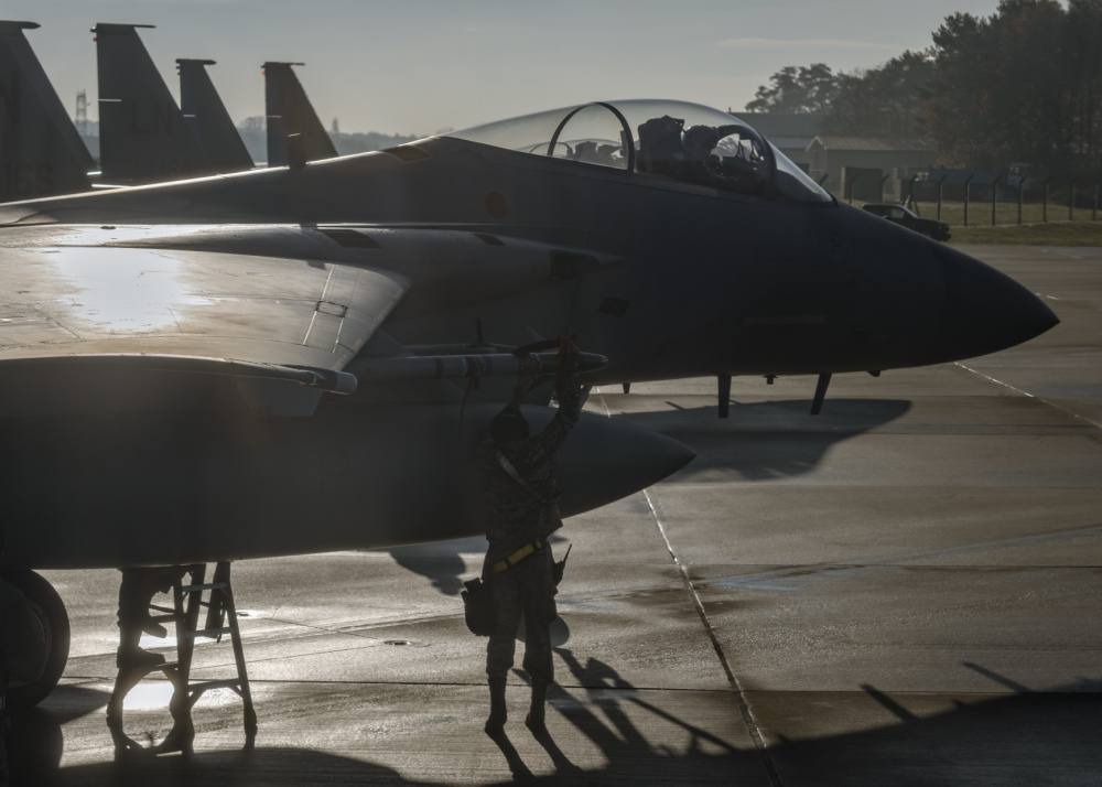 US Air Force 48th Fighter Wing F-15s Conducts Live Missile Fire