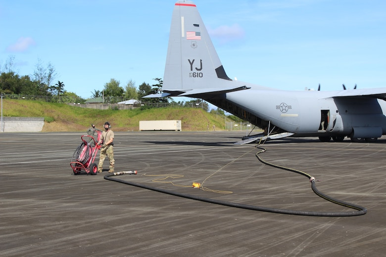 US Air Force C-130J Super Hercules Refuels F-22s Using Aerial Bulk Fuel Delivery System (ABFDS)