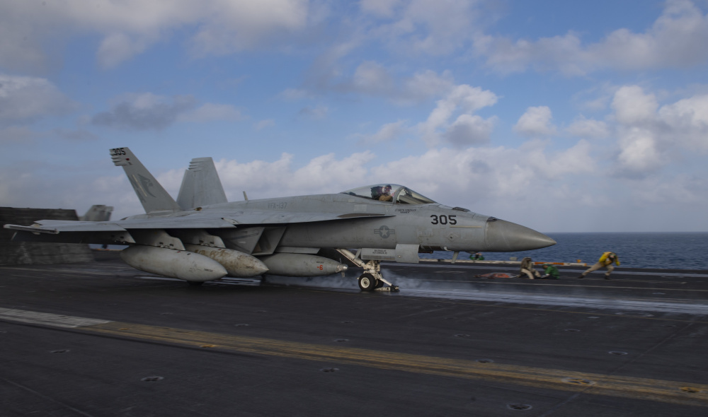 An F/A-18E Super Hornet, from the Kestrels of Strike Fighter Squadron (VFA) 137, launches off of the flight deck of the aircraft carrier USS Nimitz (CVN 68) to provide close-air support to Operation Octave Quartz.
