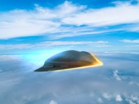 An artist's rendering illustrates what a hypersonic missile could look like as it travels along the edge of Earth's atmosphere.