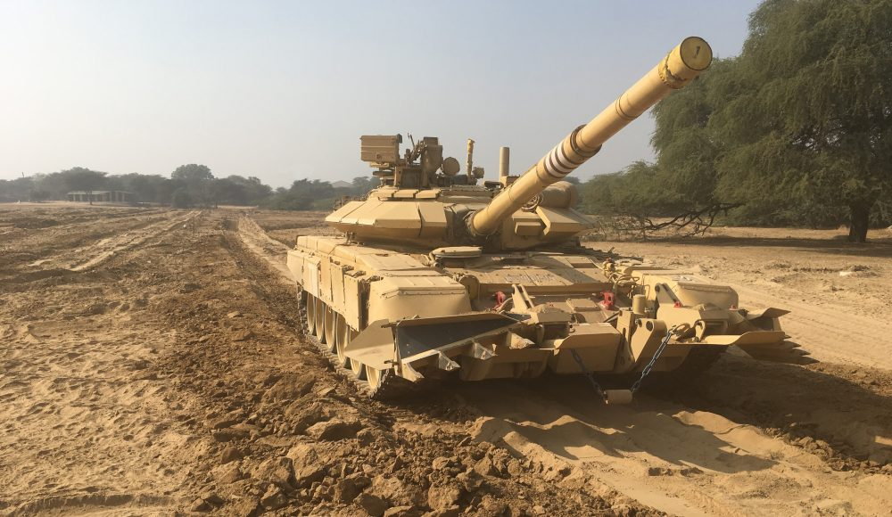 The Indian Army T-90 S/SK Main Battle Tank with Track Width Mine Ploughs (TWMP)