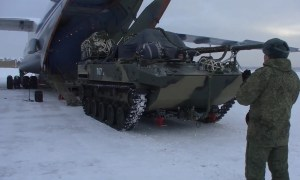 Russian Airborne Forces Holds Airdrop Delivery Exercise Involving BMD-4M Infantry Fighting Vehicles