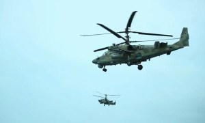 Russian Southern Military District Ka-52 attack helicopters