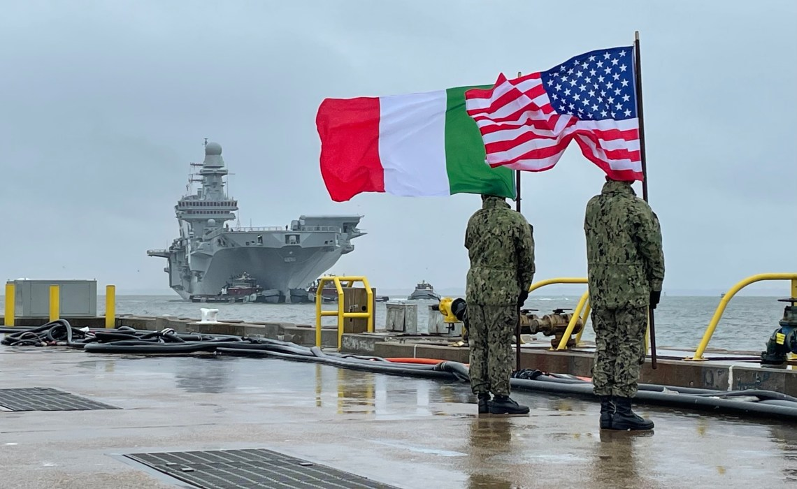Italian Navy Aircraft Carrier ITS Cavour (CVH 550) Arrives at US Naval Station Norfolk