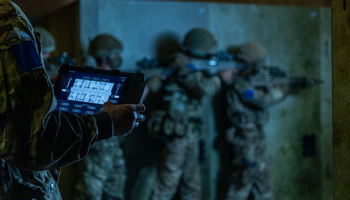 The innovative 4GD Smart Facility boasts moveable walls; interactive smoke, light, sound, and smell effects; and a video monitoring system for soldiers to be able to review their performance.