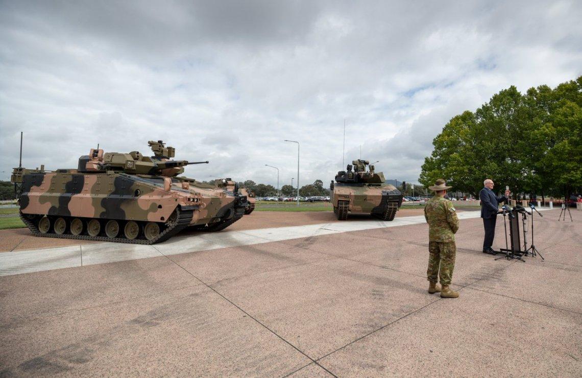 Hanwha Defense Australia's Redback and Rheinmetall Defence Australia's Lynx on display